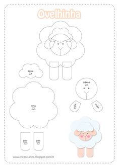 Sheep pattern for appliqué - felt Sheep Crafts, Felt Crafts, Felt Patterns, Applique Patterns, Motifs D'appliques, Sewing Crafts, Sewing Projects, Felt Templates, Quilting