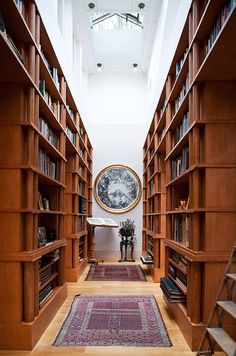 A glass roof floods the library with light in the Princeton, New Jersey home of architect Michael Graves Michael Graves, New England Homes, New Homes, Zebra Skin Rug, Media Room Design, Home Libraries, Public Libraries, Architect House, Glass Roof