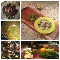 """Mussels """"Sahanaki"""" appetizer (extra virgin olive oil, garlic, spring onions, lemon juice, spicy pepper, dill, feta cheese) great with white wine!"""