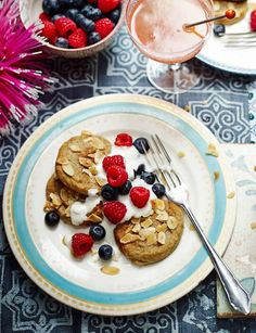 Almond banana pancakes with vanilla yogurt and berries. Nutritious and gluten free pancakes. Serves 8