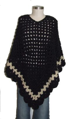 Hand Crocheted Celebrity Black And Cream Poncho by mysticbazaar, $75.00