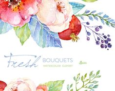 Fresh Bouquets & wreath. Handpainted watercolor clipart, wedding invitation, floral frame, greeting card, diy clip art, pomegranate, flowers