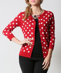 Another great find on #zulily! Red & White Polka Dot Cardigan #zulilyfinds