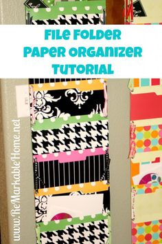 File Folder Paper Organizer Tutorial! Great for keeping papers organized in the classroom! Maybe for different subjects?