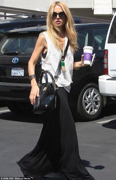 I do this outfit all of the time during the summer...my favorite maxi skirt paired w/ a tee.