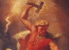 Thor by Marten Eskil Winge. Thor is a mythical Norse god associated with thunder, lightning, storms, oak trees, strength, the protection of mankind, healing, and fertility. Thorium was so named in the 1820s, well before its nuclear properties were discovered in 1942. Coincidence?