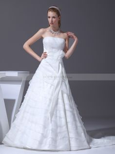 Asymmetrically Layered Strapless Wedding Gown with Floral Waist