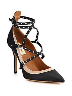 Valentino Grommet-Studded Leather Pumps  AED 3930.56