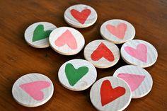 red bird crafts: heart magnets