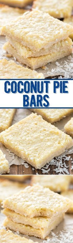 Gooey Coconut Pie Bars - this easy bar recipe has a shortbread crust topped with. Gooey Coconut Pie Bars - this easy bar recipe has a shortbread crust topped with a gooey coconut filling. The perfect gooey coconut bar! Weight Watcher Desserts, Dessert Simple, Low Carb Dessert, Dessert Bars, Coconut Desserts, Easy Desserts, Coconut Recipes Healthy, Coconut Frosting, Coconut Bars