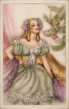Romantic Kitsch Glamour Pretty Christmas Lady in Fancy Princess Costume Illustrated by Emilio Freixas, Original Rare 1950s Spanish Postcard
