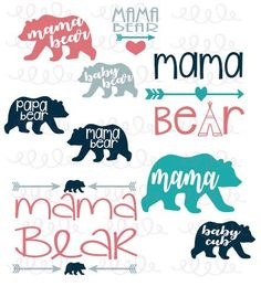 $2.99 Mama Bear Designs Silhouette AI EPS SVG Cutting by PunchandPieDIY