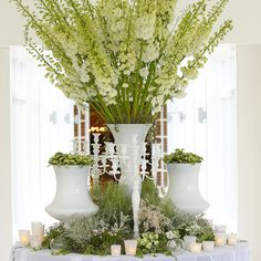 Vintage-inspired decor at Dewey Seasons Hotel Hampshire included dramatic green and white floral stalks and candles. Wedding Flower Arrangements, Floral Centerpieces, Wedding Centerpieces, Wedding Table, Wedding Bouquets, Floral Arrangements, Wedding Flowers, Wedding Decorations, Decor Wedding