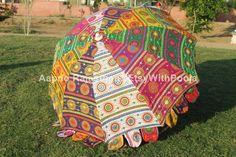 Boho Rainbow Room Garden Umbrellas Indian Handmade Vintage | Etsy Fancy Umbrella, Large Umbrella, Umbrella Wedding, Floral Umbrellas, Shade Umbrellas, Umbrellas Parasols, Umbrella Decorations, Indian Theme, Garden Parasols