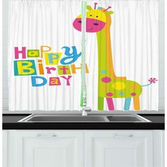 East Urban Home Ambesonne Birthday Kitchen Curtains, Children Kindergarten Style Party Green Colour Giraffe With Dots Artwork Print, Window Drapes 2 P French Country Bedrooms, French Country Decorating, Window Drapes, Drapes Curtains, Modern Curtains, Decorative Curtains, Curtain Patterns, Custom Drapes, Living Room Bedroom
