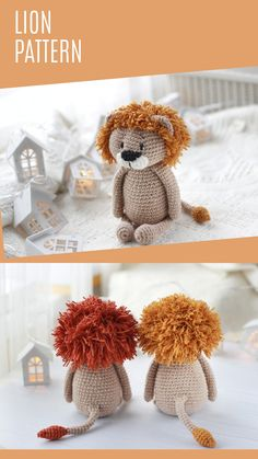 Crochet Animal Patterns, Crochet Doll Pattern, Stuffed Animal Patterns, Crochet Patterns Amigurumi, Crochet Animals, Doll Patterns, Crochet Lion, Magic Ring, Homemade Toys