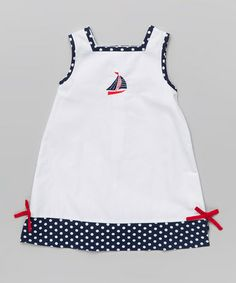 This White & Navy Sailboat Swing Dress - Toddler & Girls by La Fleur & Le Papillon is perfect! #zulilyfinds