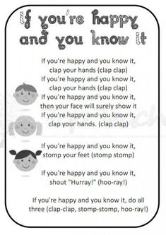 Nursery rhymes printable - If You Are Happy and You Know It Nursery Rhymes Lyrics, Old Nursery Rhymes, Nursery Rhymes Preschool, Nursery Rhymes Songs, Preschool Music, Kids Rhymes Songs, Songs For Toddlers, Rhymes For Kids, Rhyming Activities