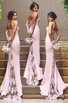 Stylish Mermaid Spaghetti Straps Satin Long Pink Bridesmaid Dresses uk with Lace Appliques PH267