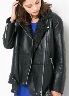 Winter Sheepskin Biker Jacket | Oversized Coats & Jackets ...
