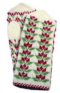 Etelä-Pohjanmaan lapaset, puna-vihreä kuvio (9515) Fingerless Mittens, Knit Mittens, Knitting Socks, Mitten Gloves, Knitting Stitches, Scandinavian Pattern, Wrist Warmers, Fair Isle Knitting, Winter Accessories