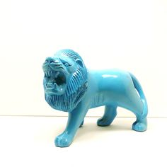 turquoise lion figurine // upcycled wood housewares by nashpop. $22.00, via Etsy.