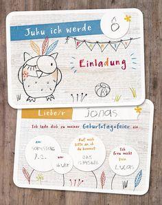 Einladungskarten Kindergeburtstag von lina-art - 5er Kartenset zum Beschriften