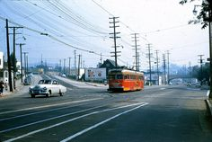 "https://flic.kr/p/DjPHWJ | 618 PERY 5012 Glendale Line Park Av 19559528 AKW | From photographer's notes - ""Hard to believe that this great line was abandoned 51 years ago this coming June. It operated under the Pacific Electric Railway from 1905 until 1953. In 1953 it was sold or leased to Metropolitan Coach Lines who took over all of the PERY passenger service. MCL substituted buses on the Bellflower Rail line in 1958. The Hollywood Beverly Hills Line was bused in 1954. Then the same t..."