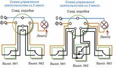 схема проходного выключателя с двух и трех мест Electrical Projects, Electrical Installation, Electrical Engineering, Electronics Projects, Electrical Circuit Diagram, Vacuum Pump, N21, Floor Plans, Building