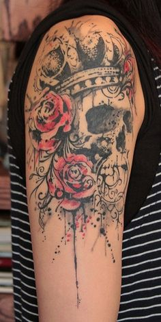 skull-and-flower-tattoo-designs-for-women-arm