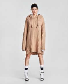 KNIT DRESS WITH HOOD Jacket Buttons, Knit Dress, Zara, Normcore, Sporty, Pearls, Knitting, Long Sleeve, Sleeves