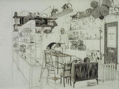 charles avery, Just like my old art room Art And Illustration, Illustrations, Rotterdam, Gallery Of Modern Art, Ink Pen Drawings, Drawing Artist, Modern Artists, Old Art, Art Sketchbook