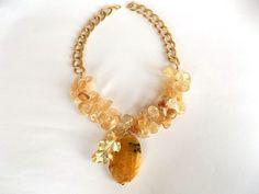 Yellow Citrine Necklace Jewelry Autumn Leaf Necklace by GULDENTAKI, $95.00