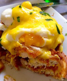 Eggs Benedict Chicken & Waffles and other incredible dishes to order at Bru's Wiffle, Santa Monica