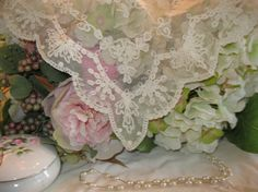 Vintage Wedding Tambour Style French Lace on Tulle by SCrittenden,