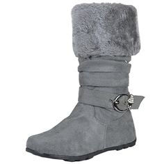 Kids Mid Calf Boots Fur Cuff Heart Buckle Accent Casual Comfort Shoes Gray Girls Footwear, Girls Shoes, Comfortable Boots, Mid Calf Boots, Zip Ups, Little Girls, Wedges, Fur, Ankle