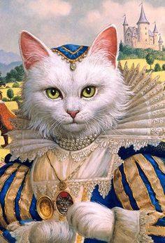 White cat by Ruth Sanderson I Love Cats, Crazy Cats, Cool Cats, Chat Royal, Costume Chat, Here Kitty Kitty, Sleepy Kitty, Kitty Cats, Cat People