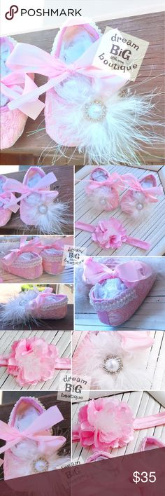 """Handmade Boutique baby booties headband gift Set! Brand: Dream BiG Boutique  Collection: Grab N Go Gift sets Item Name: Giggles & Girls Booties & headband set Size: 0-9 Months Description: handmade booties & headband with pearl decals, Pink lace lining & maraboo poof! MAKE AN OFFER! We consider all offers & accept them whenever possible """"When you support a small business, you're supporting someone's dream!"""" With Gratitude, Ally @Dream BiG Boutique dream BiG boutique, Smithfield, RI…"""