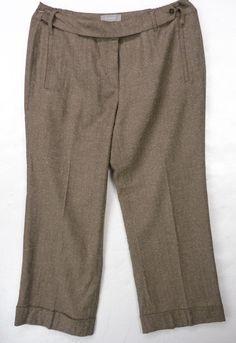 Liz Claiborne SLOANE Dress Pants Womens Plus 16W Brown TWEED Woven Cuffed Wide #LizClaiborne #DressPants
