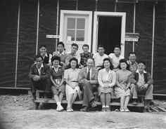 Charles Lynn (center) with his newspaper staff, Jerome War Relocation Center, Arkansas, United States, 16 Nov 1942 (US National Archives) Japanese American, National Archives, 40s Fashion, Photographs, Photos, Camps, World War Two, Vintage Images, Arkansas