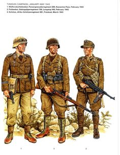 The German army in WWii Military Insignia, Military Art, Military History, German Soldiers Ww2, German Army, Afrika Corps, Marine Corps, North African Campaign, Military Drawings