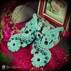 Turquoise lace earrings by Oriental colour shop by OrientalColour