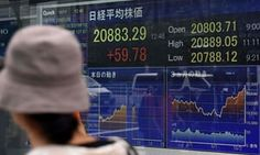 An electronics stocks indicator showing the Tokyo Stock Exchange today.