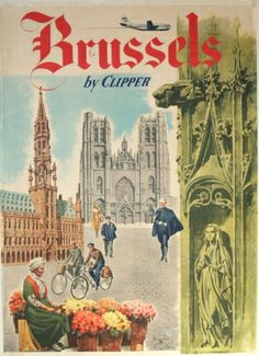 Brussels by Clipper, 1960s - original vintage poster by Favre listed on AntikBar.co.uk