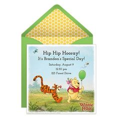 """Send this free online Winnie the Pooh party invitation and get ready to have a little """"hunny"""" with great friends!"""
