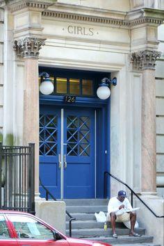 """""""Girls"""" door on a building in Chelsea"""