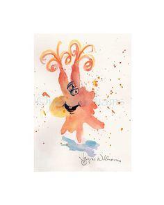 Fun Monsters  original watercolor print   orange by Jayneart, $12.00
