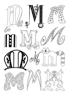 No alphabet link attached but inspiration to recreate others Hand Lettering Fonts, Doodle Lettering, Creative Lettering, Lettering Styles, Handwriting Fonts, Lettering Ideas, Doodle Art Letters, Letter Art, Fancy Letters