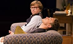 Blinking knitter meets man-magnet …Jonathan Broadbent and Lewis Reeves in Robert Hastie's revival of My Night With Reg. Photograph: Johan Persson. Donmar Warehouse.