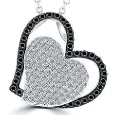 6872fb2f7399 2.10 Carat Black   White Diamond Puffed Heart Pendant Necklace in 14k White  Gold